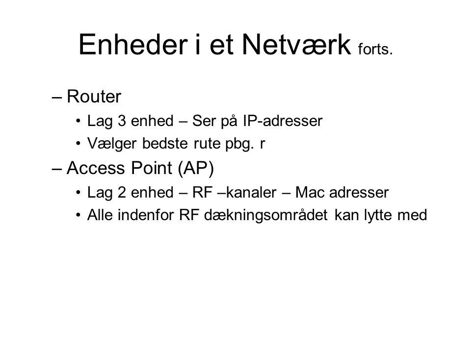 Enheder i et Netværk forts. –Router Lag 3 enhed – Ser på IP-adresser Vælger bedste rute pbg.