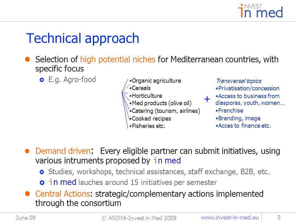 www.invest-in-med.eu Technical approach Selection of high potential niches for Mediterranean countries, with specific focus  E.g. Agro-food Demand dr