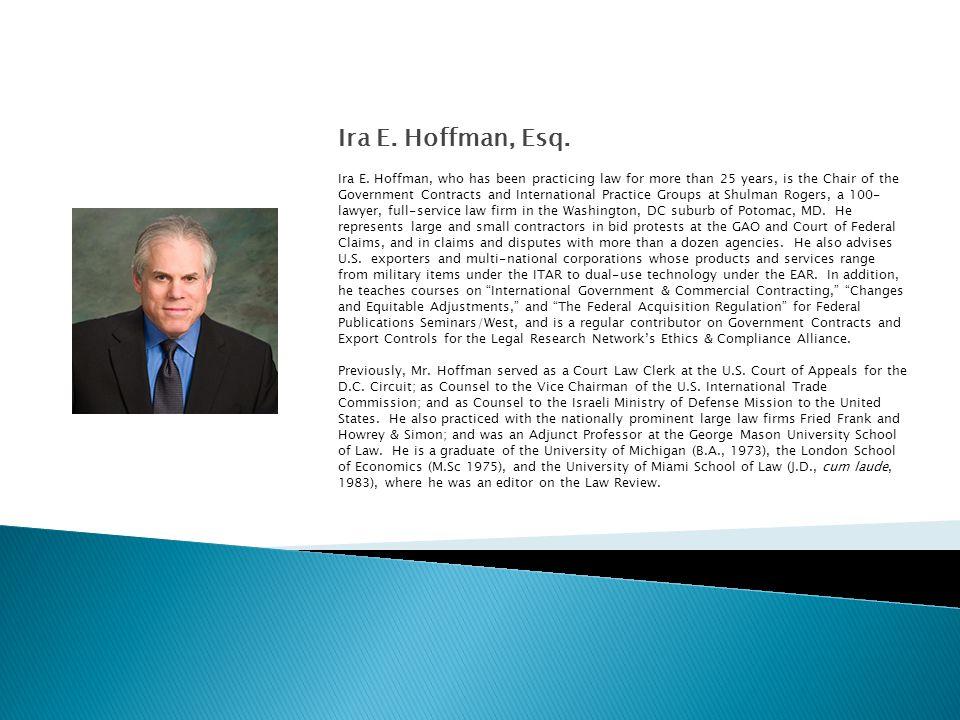 Ira E. Hoffman, Esq. Ira E.