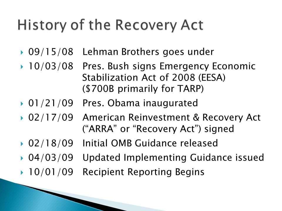 Remaining Opportunities for Recovery Act Funding