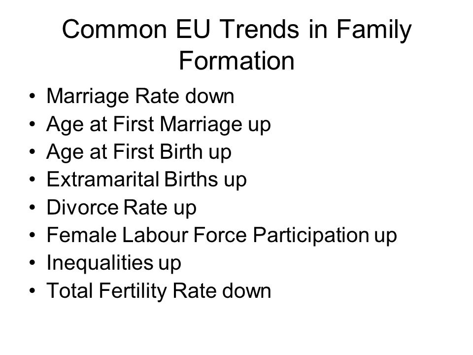 Common EU Trends in Family Formation Marriage Rate down Age at First Marriage up Age at First Birth up Extramarital Births up Divorce Rate up Female Labour Force Participation up Inequalities up Total Fertility Rate down