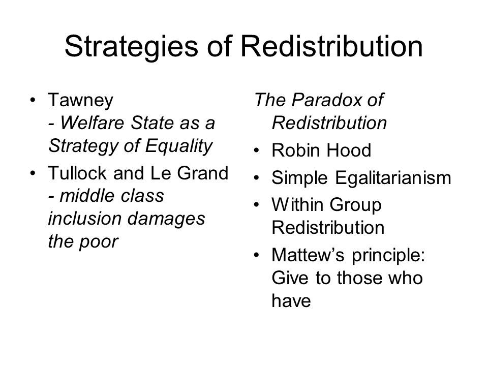 Strategies of Redistribution Tawney - Welfare State as a Strategy of Equality Tullock and Le Grand - middle class inclusion damages the poor The Paradox of Redistribution Robin Hood Simple Egalitarianism Within Group Redistribution Mattew's principle: Give to those who have