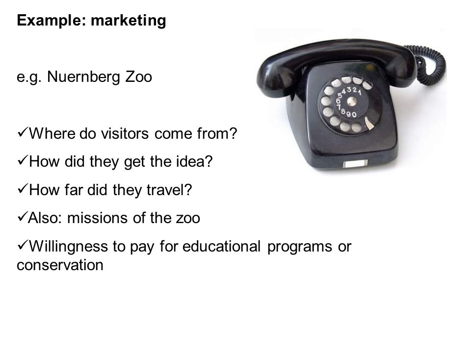 Example: marketing e.g. Nuernberg Zoo Where do visitors come from.