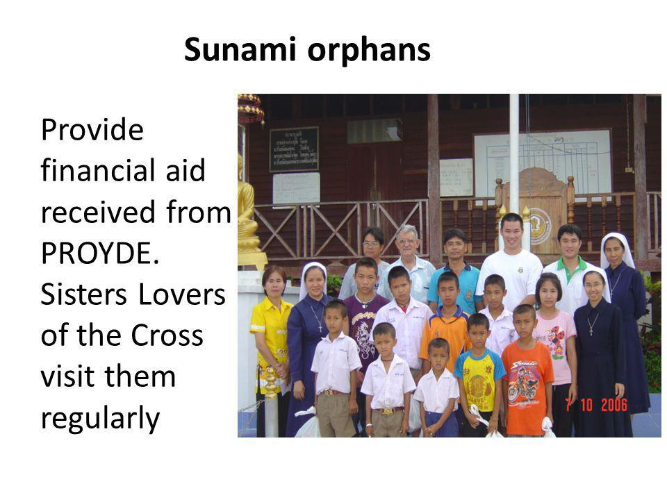 Sunami orphans Provide financial aid received from PROYDE.