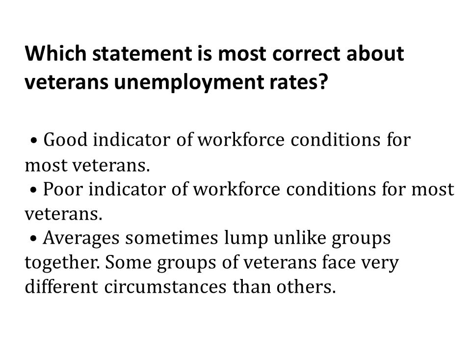 Which statement is most correct about veterans unemployment rates.