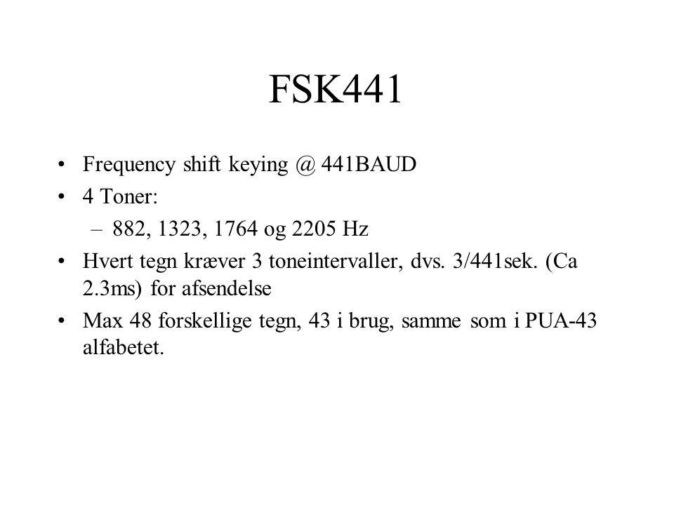 FSK441 Frequency shift keying @ 441BAUD 4 Toner: –882, 1323, 1764 og 2205 Hz Hvert tegn kræver 3 toneintervaller, dvs.