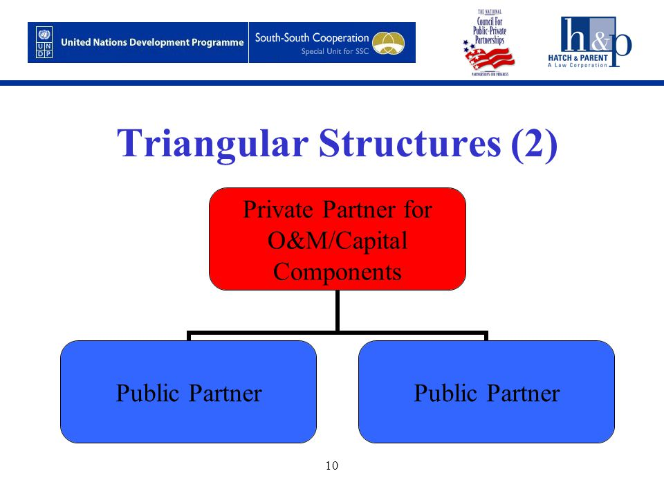 10 Triangular Structures (2) Private Partner for O&M/Capital Components Public Partner