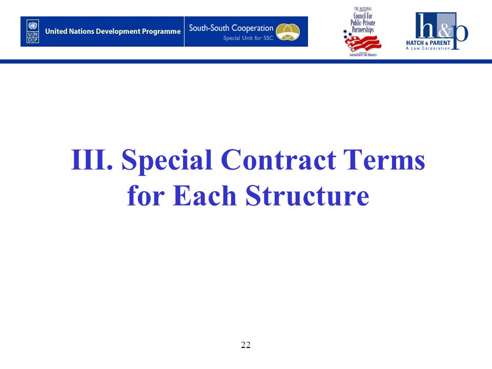22 III. Special Contract Terms for Each Structure