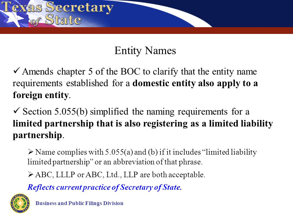 Business and Public Filings Division Entity Names Amends chapter 5 of the BOC to clarify that the entity name requirements established for a domestic entity also apply to a foreign entity.