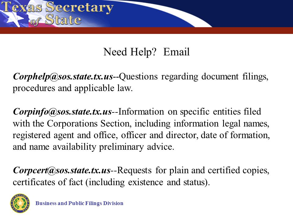 Business and Public Filings Division Need Help.