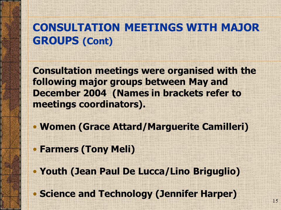 15 Consultation meetings were organised with the following major groups between May and December 2004 (Names in brackets refer to meetings coordinators).
