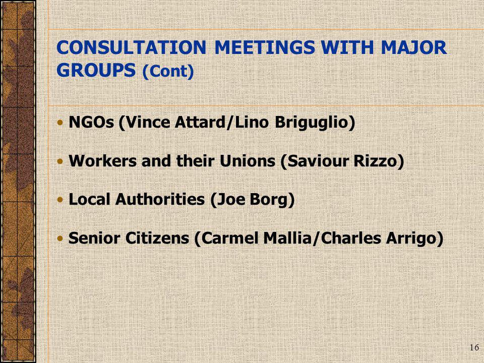 16 NGOs (Vince Attard/Lino Briguglio) Workers and their Unions (Saviour Rizzo) Local Authorities (Joe Borg) Senior Citizens (Carmel Mallia/Charles Arrigo) CONSULTATION MEETINGS WITH MAJOR GROUPS (Cont)