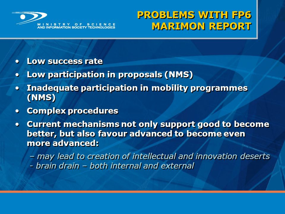 Low success rate Low participation in proposals (NMS) Inadequate participation in mobility programmes (NMS) Complex procedures Current mechanisms not