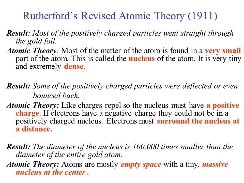 Rutherford's Revised Atomic Theory (1911) Result: Most of the positively charged particles went straight through the gold foil. Atomic Theory: Most of