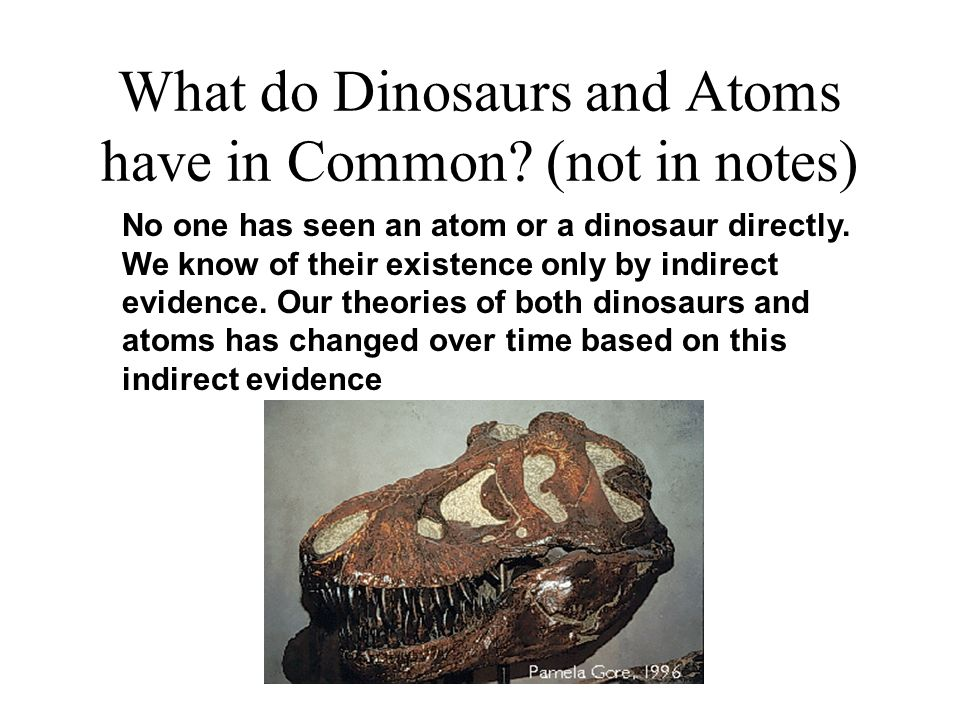What do Dinosaurs and Atoms have in Common? (not in notes) No one has seen an atom or a dinosaur directly. We know of their existence only by indirect