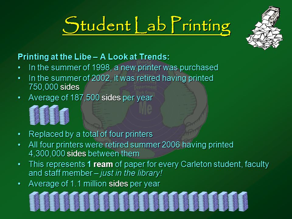 Student Lab Printing Printing at the Libe – A Look at Trends: In the summer of 1998, a new printer was purchasedIn the summer of 1998, a new printer was purchased In the summer of 2002, it was retired having printed 750,000 sidesIn the summer of 2002, it was retired having printed 750,000 sides Average of 187,500 sides per yearAverage of 187,500 sides per year Replaced by a total of four printersReplaced by a total of four printers All four printers were retired summer 2006 having printed 4,300,000 sides between themAll four printers were retired summer 2006 having printed 4,300,000 sides between them This represents 1 ream of paper for every Carleton student, faculty and staff member – just in the library!This represents 1 ream of paper for every Carleton student, faculty and staff member – just in the library.