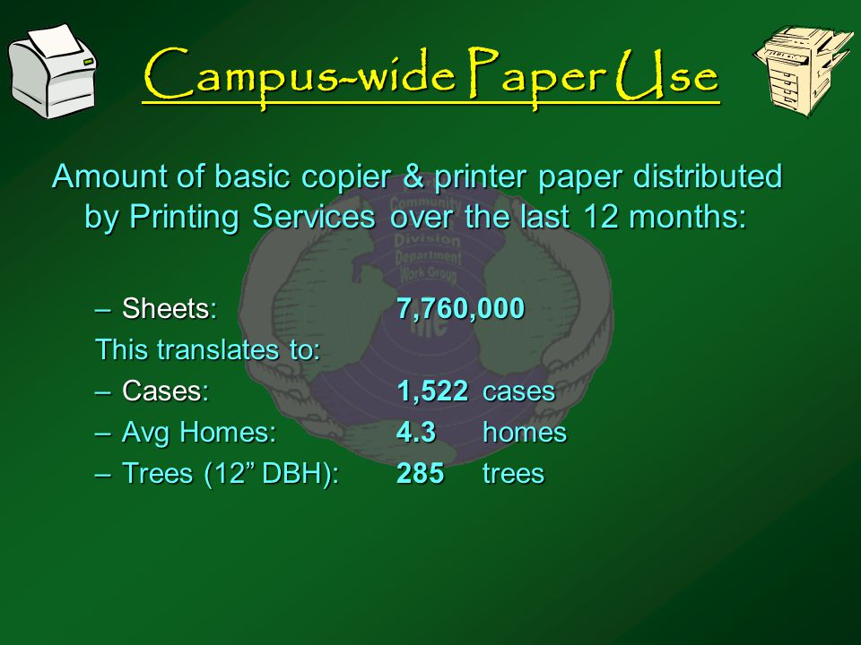 Campus-wide Paper Use Amount of basic copier & printer paper distributed by Printing Services over the last 12 months: –Sheets:7,760,000 This translates to: –Cases:1,522cases –Avg Homes:4.3homes –Trees (12 DBH):285trees
