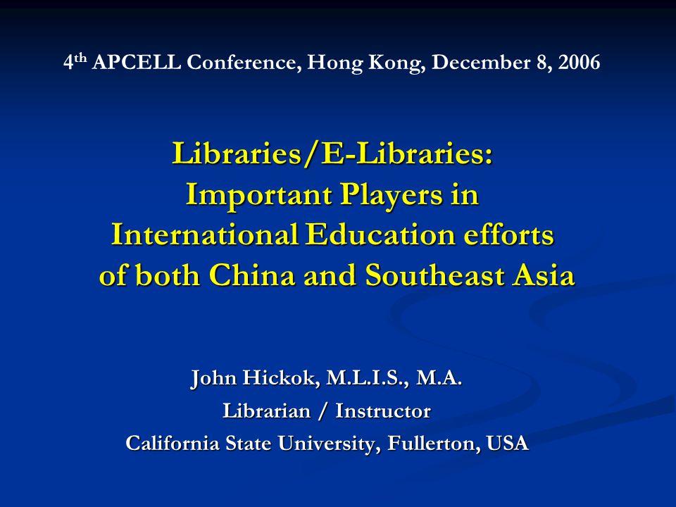 Bilateral LibraryPartnerships Example 3: Vietnam National University (Hanoi), Vietnam Various libraries Worldwide