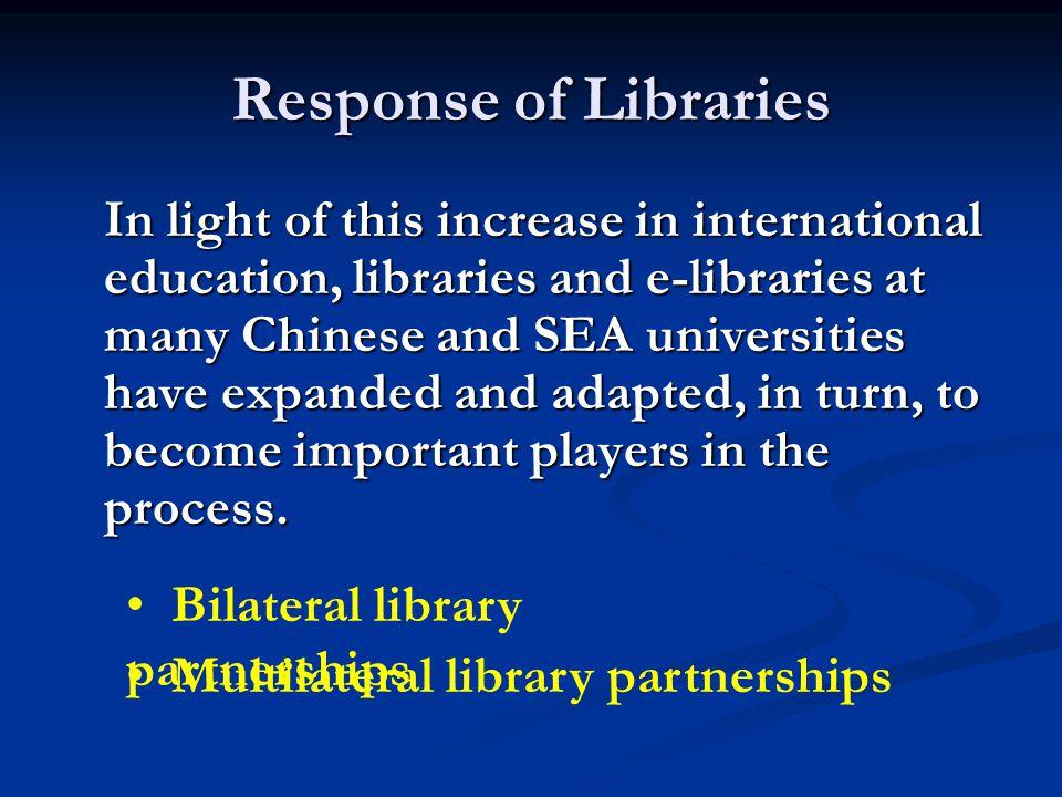 Bilateral Library Partnerships Example 6: Liaoning University China Indiana State University, USA
