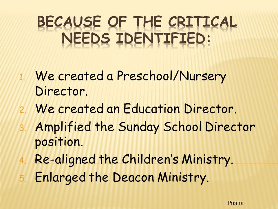 1. We created a Preschool/Nursery Director. 2. We created an Education Director.