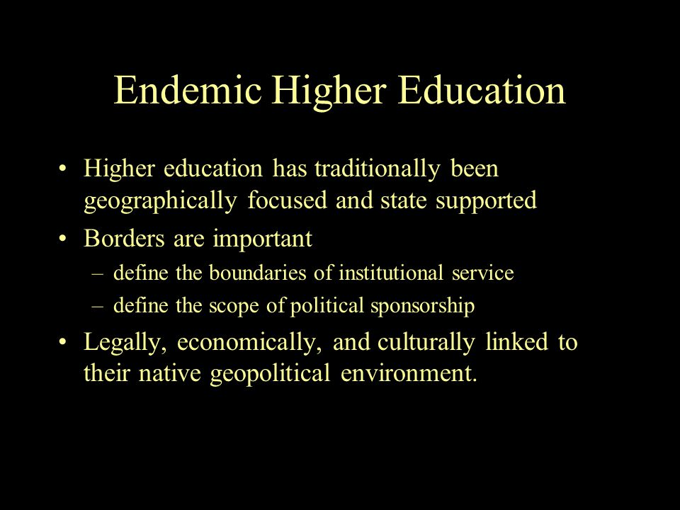 Endemic Higher Education Higher education has traditionally been geographically focused and state supported Borders are important –define the boundaries of institutional service –define the scope of political sponsorship Legally, economically, and culturally linked to their native geopolitical environment.