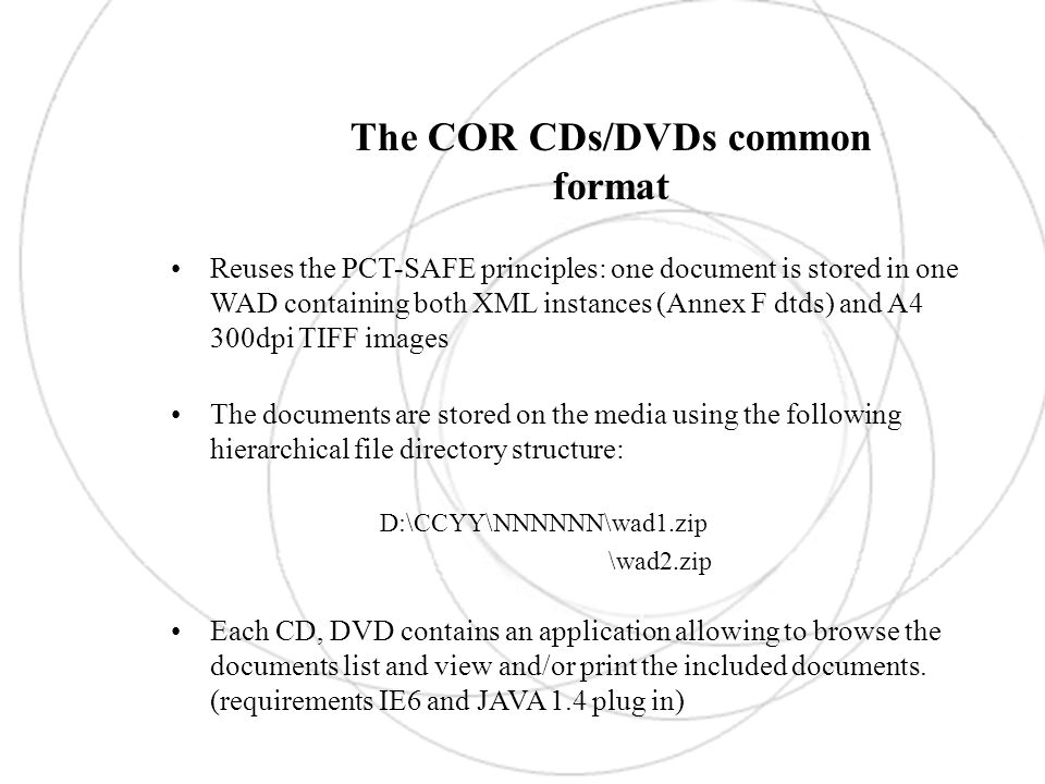 The COR CDs/DVDs common format: DEMO