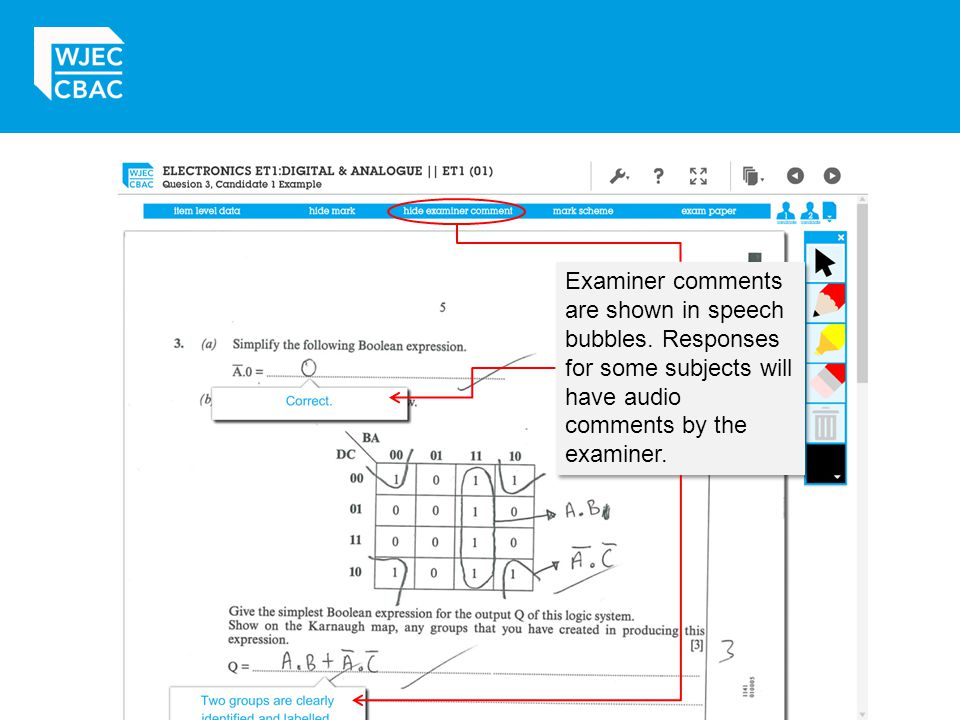 Examiner comments are shown in speech bubbles. Responses for some subjects will have audio comments by the examiner.