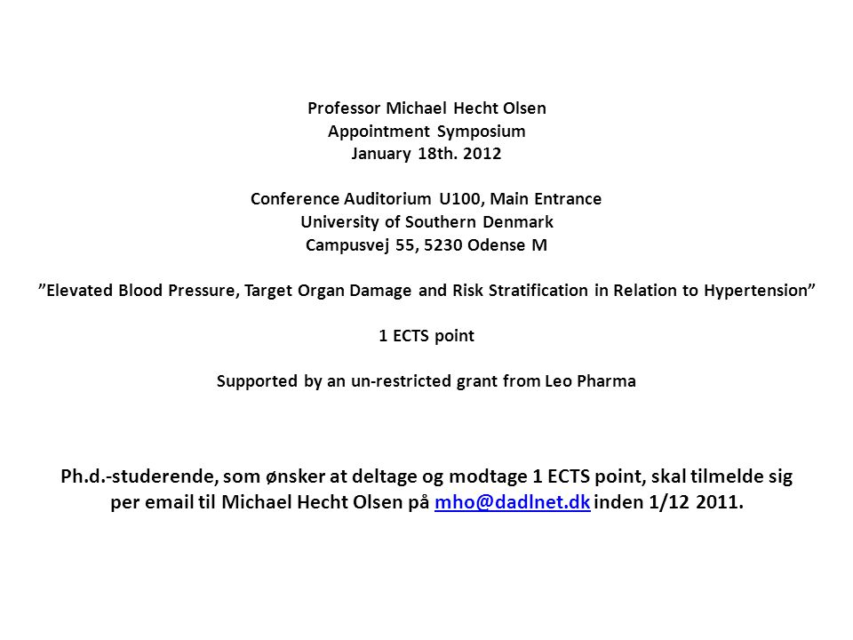 Professor Michael Hecht Olsen Appointment Symposium January 18th.