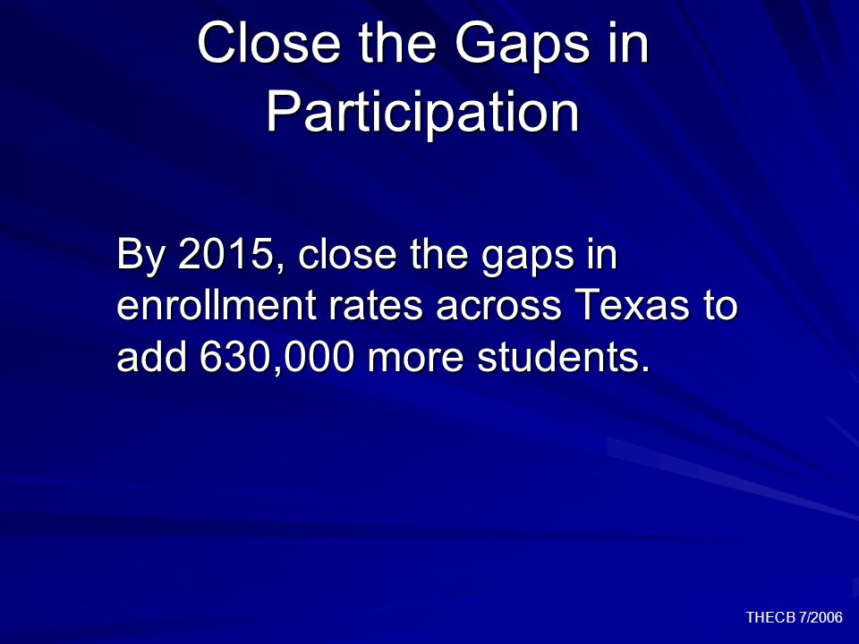 THECB 7/2006 Close the Gaps in Participation By 2015, close the gaps in enrollment rates across Texas to add 630,000 more students.