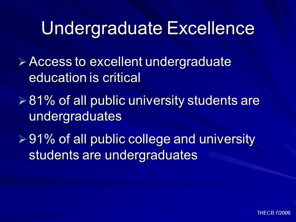 THECB 7/2006 Undergraduate Excellence  Access to excellent undergraduate education is critical  81% of all public university students are undergraduates  91% of all public college and university students are undergraduates