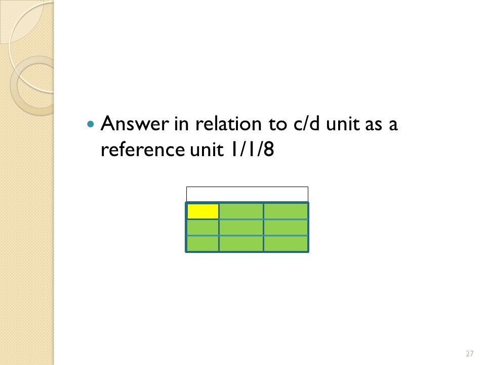 Answer in relation to c/d unit as a reference unit 1/1/8 27