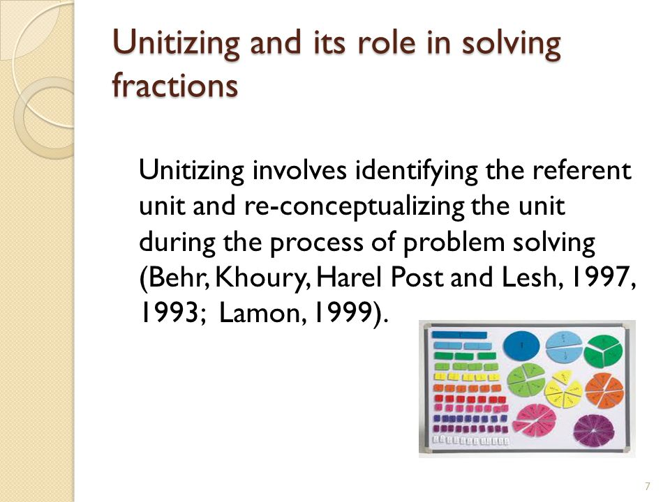 Unitizing and its role in solving fractions Unitizing involves identifying the referent unit and re-conceptualizing the unit during the process of pro