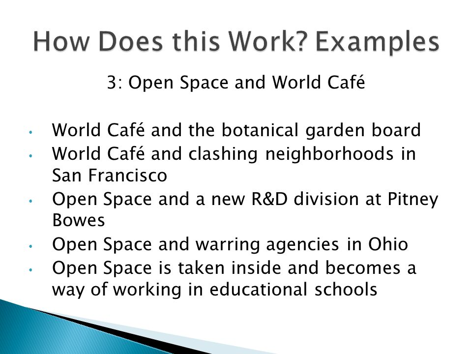 3: Open Space and World Café World Café and the botanical garden board World Café and clashing neighborhoods in San Francisco Open Space and a new R&D division at Pitney Bowes Open Space and warring agencies in Ohio Open Space is taken inside and becomes a way of working in educational schools