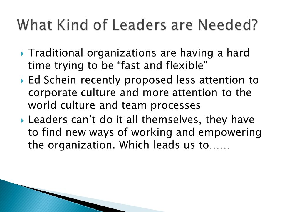  Traditional organizations are having a hard time trying to be fast and flexible  Ed Schein recently proposed less attention to corporate culture and more attention to the world culture and team processes  Leaders can't do it all themselves, they have to find new ways of working and empowering the organization.