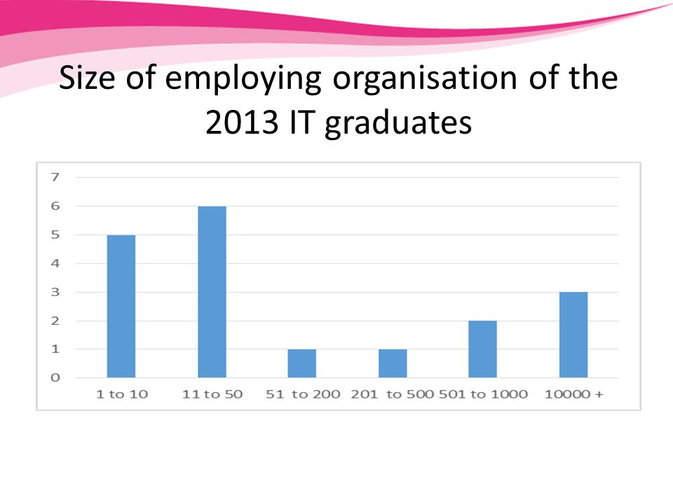 Size of employing organisation of the 2013 IT graduates