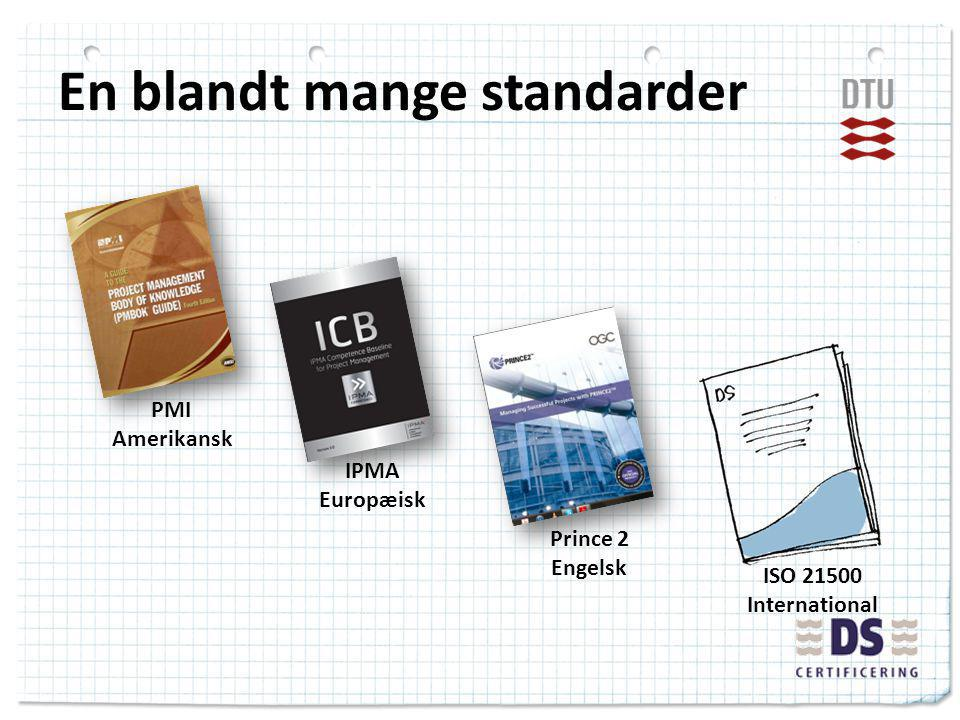 En blandt mange standarder PMI Amerikansk IPMA Europæisk Prince 2 Engelsk ISO 21500 International