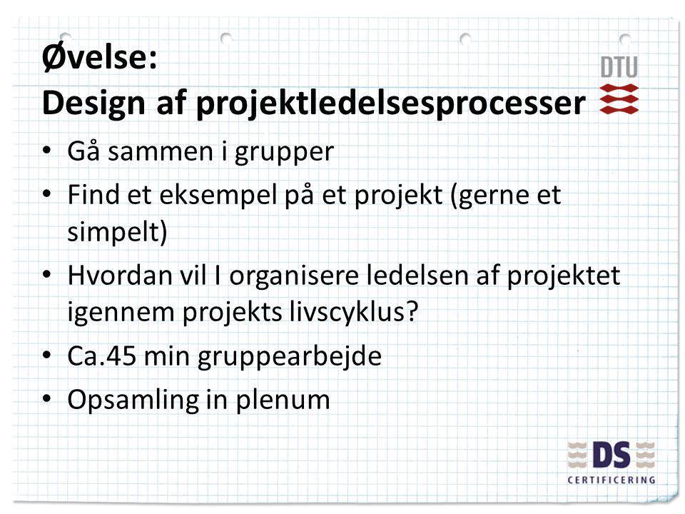 Øvelse: Design af projektledelsesprocesser Gå sammen i grupper Find et eksempel på et projekt (gerne et simpelt) Hvordan vil I organisere ledelsen af projektet igennem projekts livscyklus.