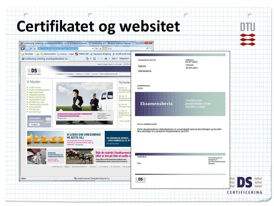 Certifikatet og websitet