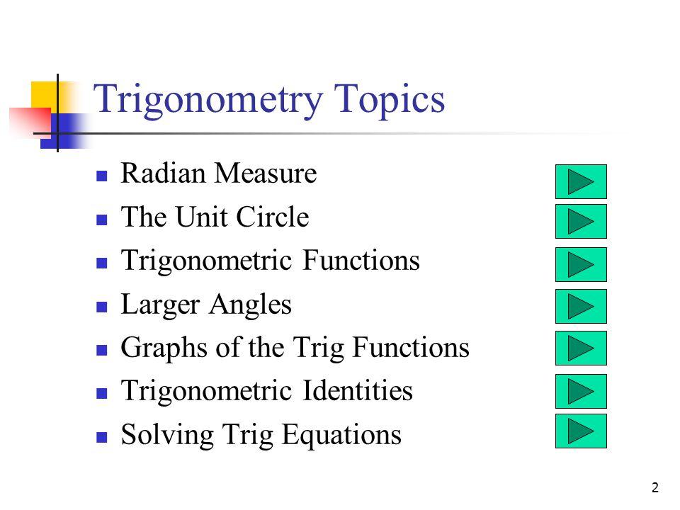 2 Trigonometry Topics Radian Measure The Unit Circle Trigonometric Functions Larger Angles Graphs of the Trig Functions Trigonometric Identities Solving Trig Equations