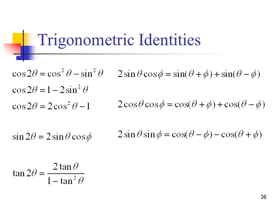 36 Trigonometric Identities