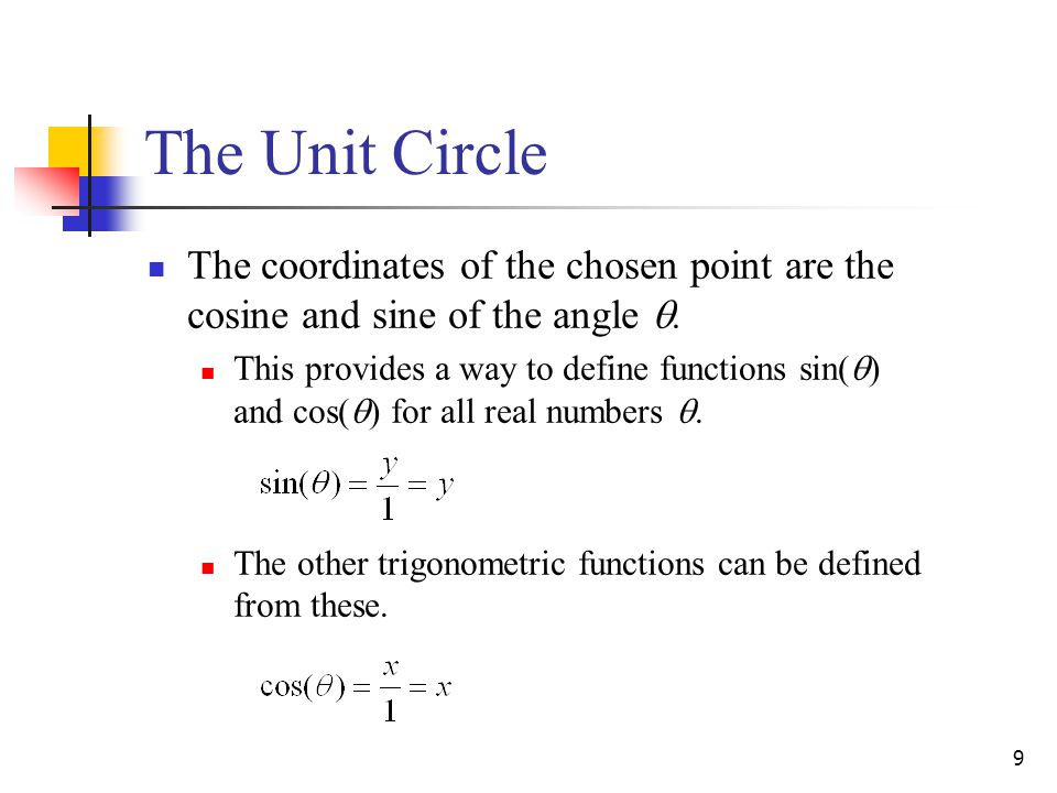 9 The Unit Circle The coordinates of the chosen point are the cosine and sine of the angle .