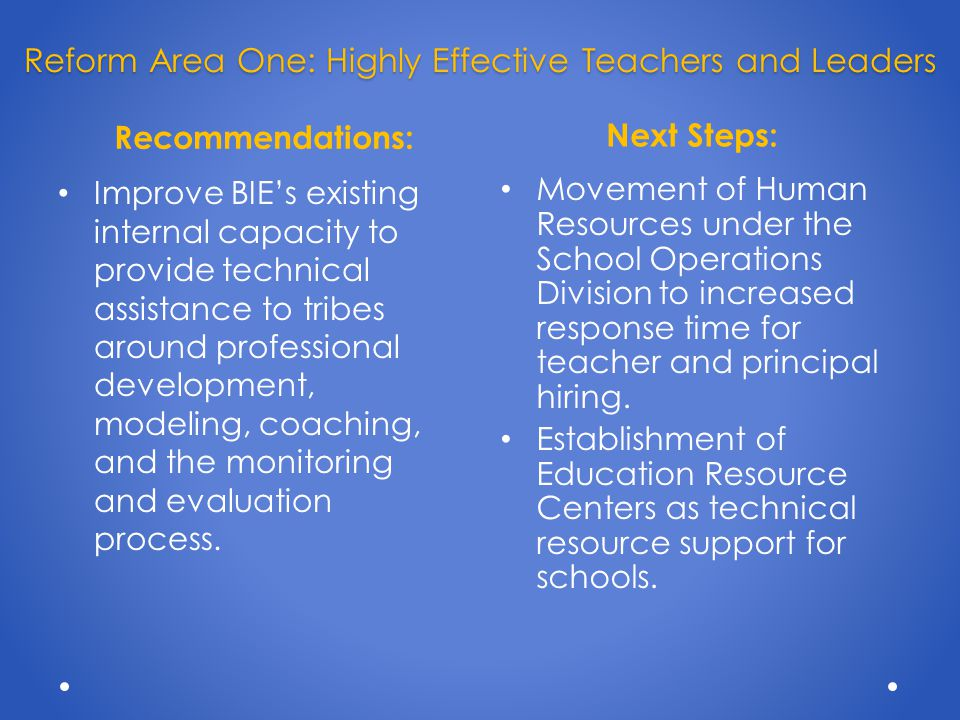 Recommendations: Next Steps: Upgrade the skills of existing teachers and principals teachers and principals (e.g.