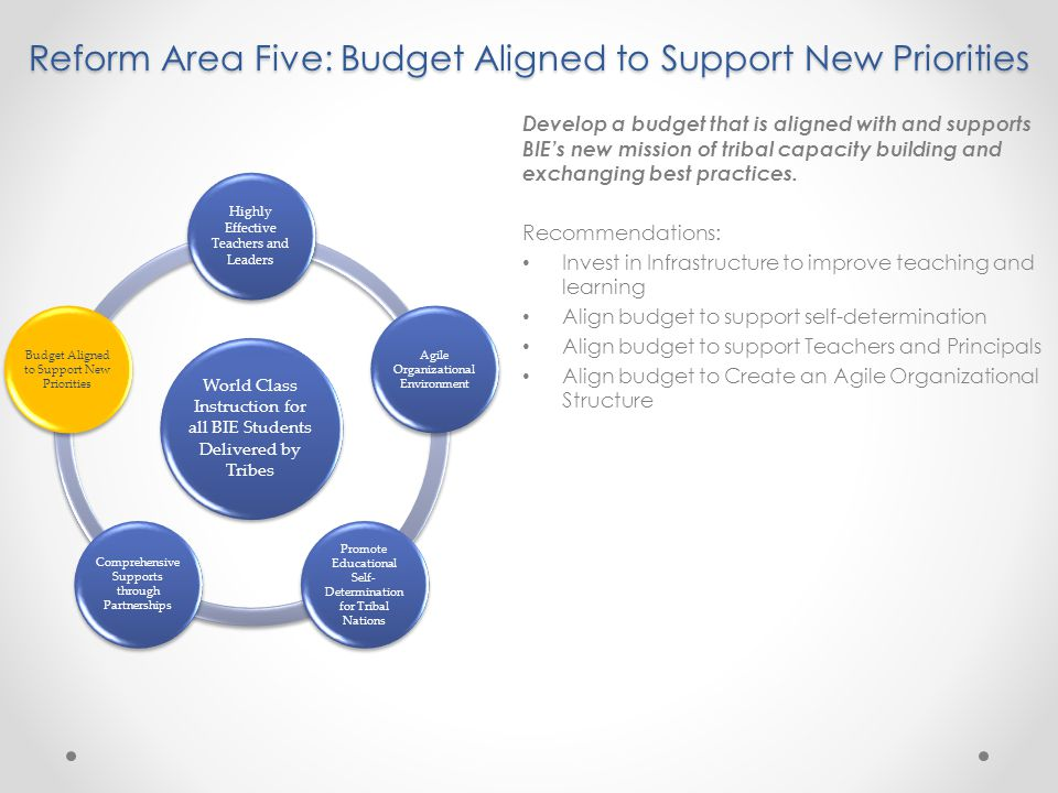 Reform Area Five: Budget Aligned to Support New Priorities Develop a budget that is aligned with and supports BIE's new mission of tribal capacity building and exchanging best practices.
