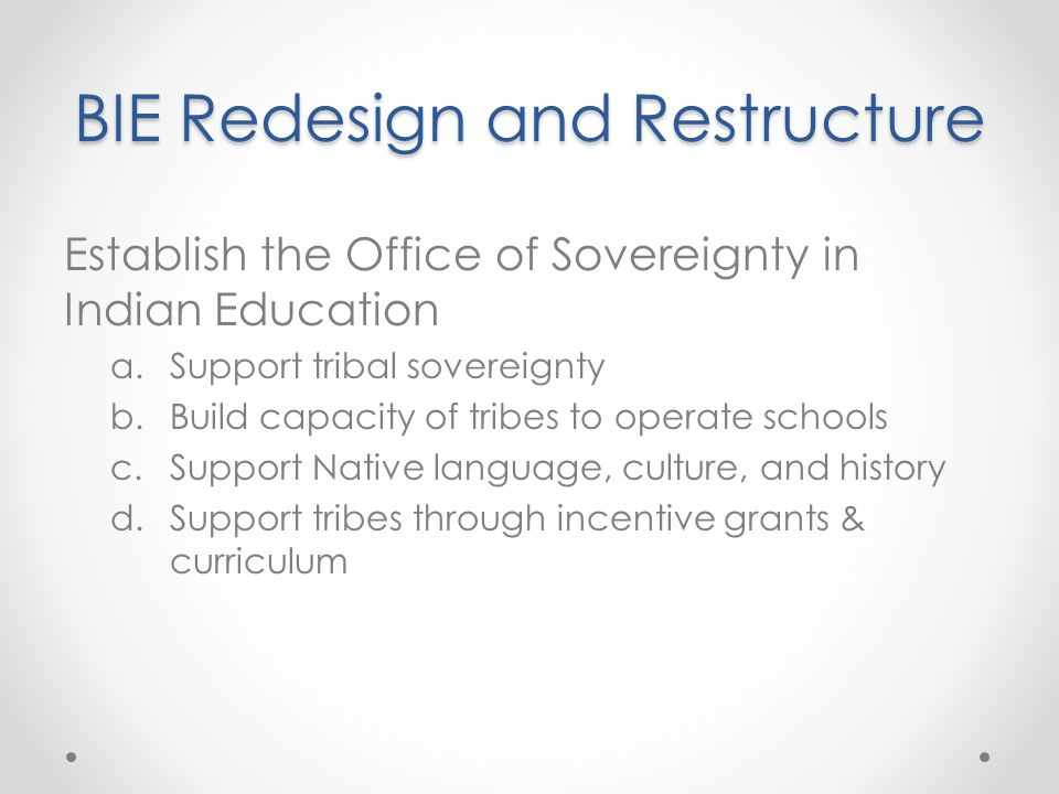 Establish the Office of Sovereignty in Indian Education a.Support tribal sovereignty b.Build capacity of tribes to operate schools c.Support Native language, culture, and history d.Support tribes through incentive grants & curriculum BIE Redesign and Restructure