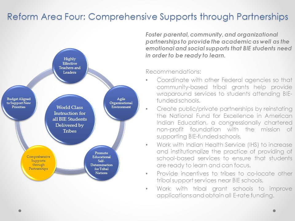 Reform Area Four: Comprehensive Supports through Partnerships Foster parental, community, and organizational partnerships to provide the academic as well as the emotional and social supports that BIE students need in order to be ready to learn.
