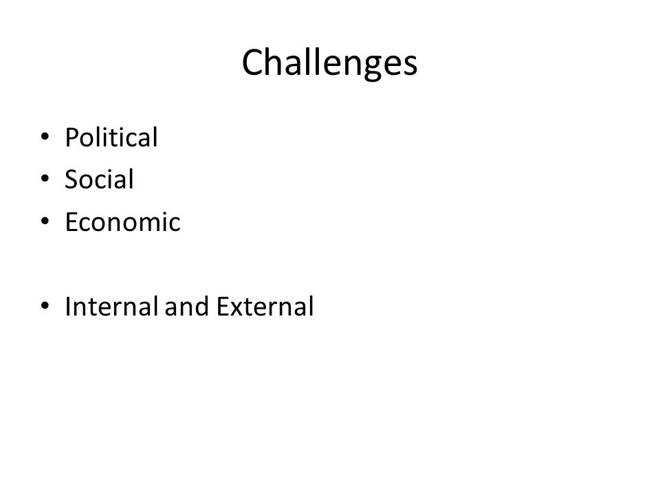 Challenges Political Social Economic Internal and External