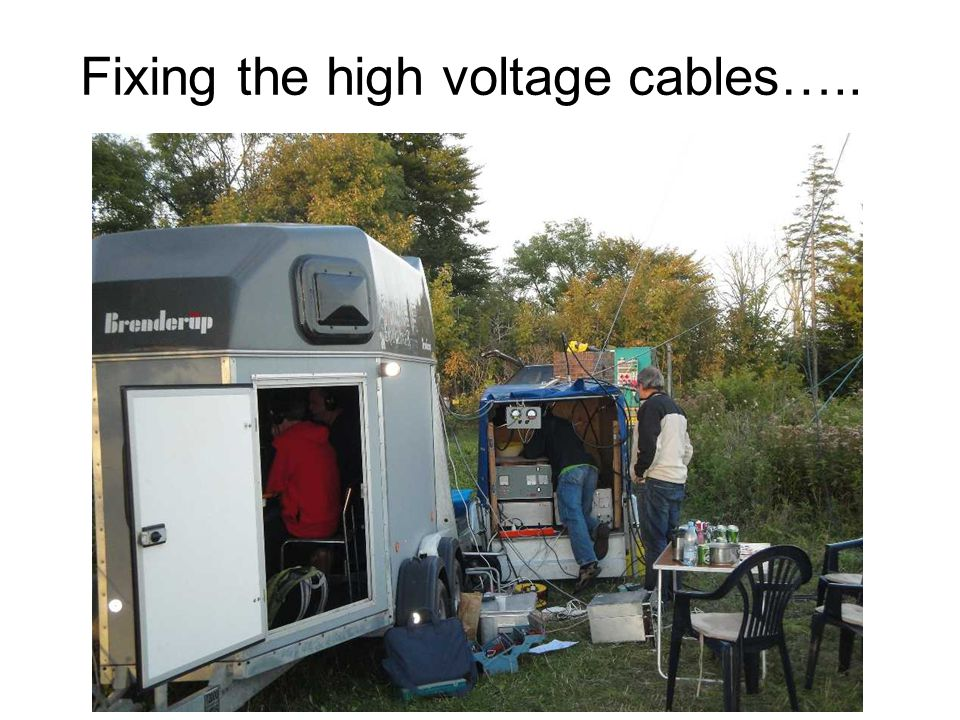 Fixing the high voltage cables…..
