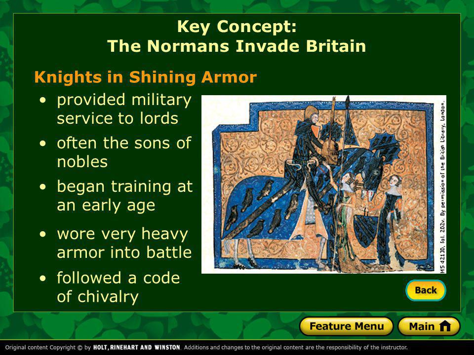 Knights in Shining Armor provided military service to lords often the sons of nobles began training at an early age wore very heavy armor into battle