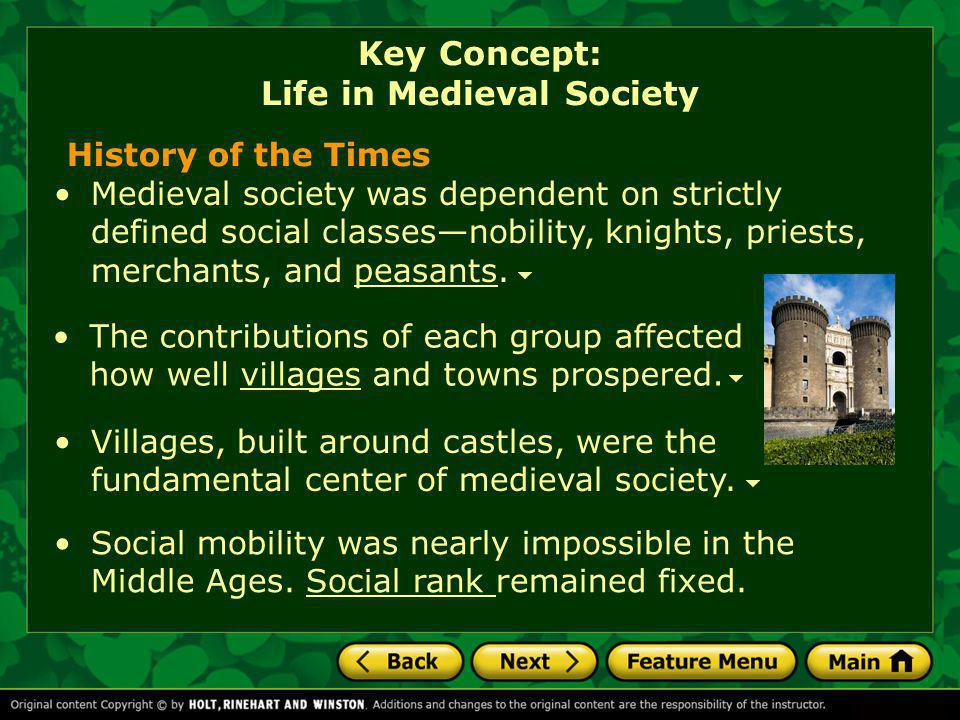History of the Times The contributions of each group affected how well villages and towns prospered.villages Medieval society was dependent on strictl