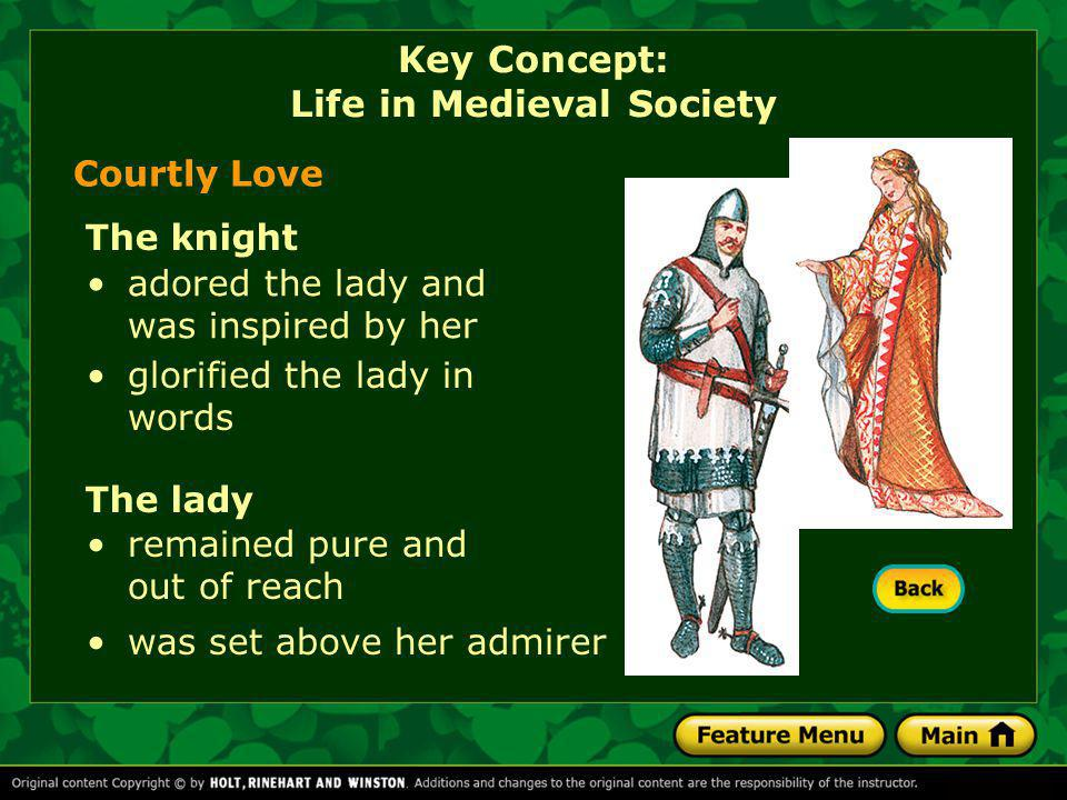 Courtly Love The knight glorified the lady in words adored the lady and was inspired by her The lady was set above her admirer remained pure and out o